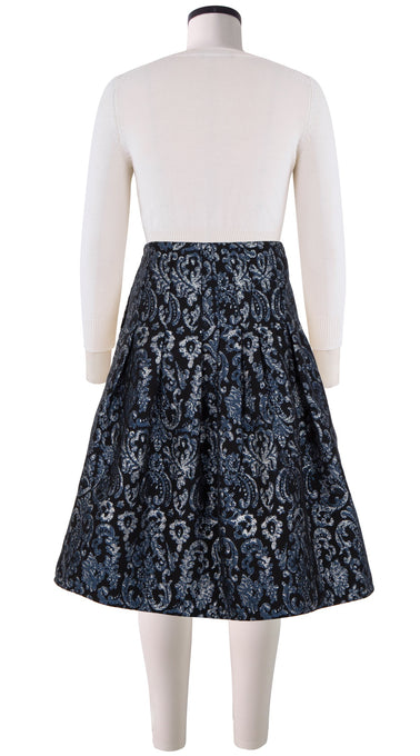 Sydney Skirt_Silk Poly Brocade_Cozette Lace Brocade_Blue