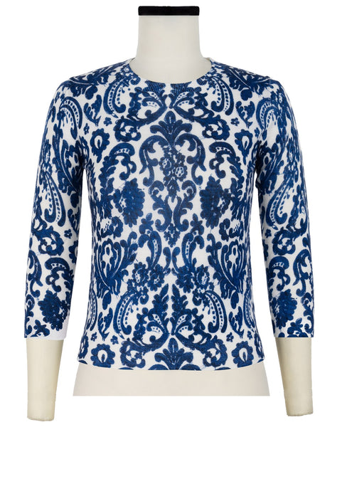 Charlotte Pullover Crew Neck 3/4 Sleeve_70% Silk 30% Cashmere_Cozette Lace_White Cobalt Blue