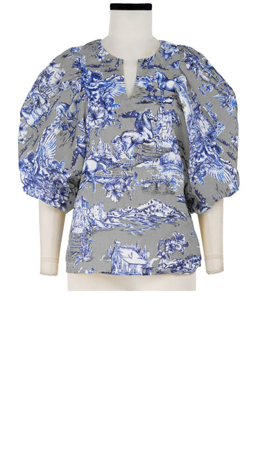 Anastasia Blouse Crew Slit Neck 3/4 Sleeve Linen (Da Vinci Toile Ground)
