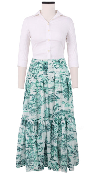 Anna Skirt #3 with Pleats Ankle Length Cotton Musola (Da Vinci Toile White)