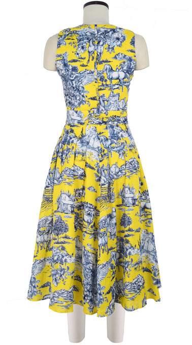 Florance Dress #2 Crew Neck Sleeveless Midi Length Linen (Da Vinci Toile Ground)