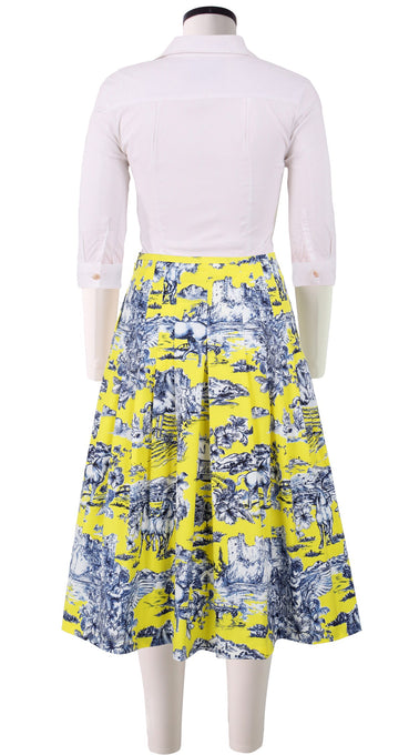 Zelda Skirt Long Length Cotton Stretch (Da Vinci Toile Ground)
