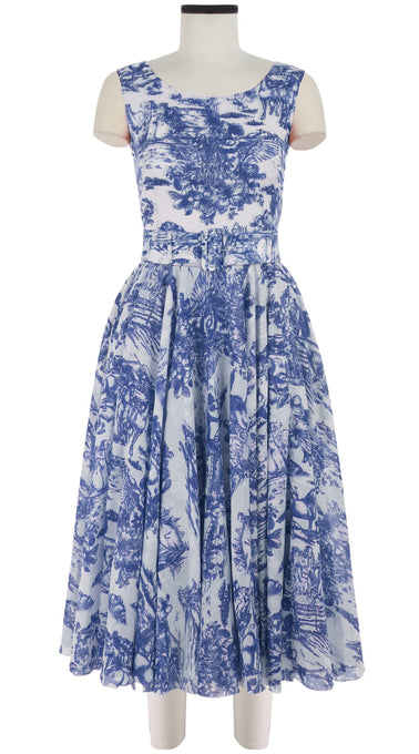 Aster Dress Boat Neck Mini Cap Sleeve Midi Length Cotton Musola (Da Vinci Toile White)