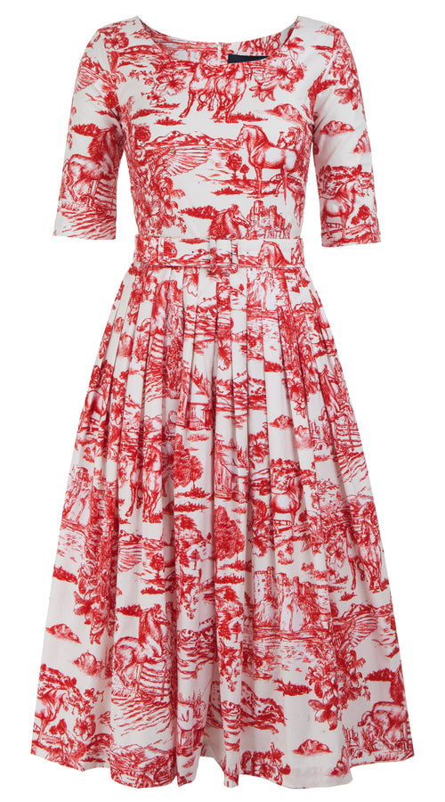 Florance Dress Boat Neck 1/2 Sleeve Midi Length Cotton Stretch (Da Vinci Toile White)