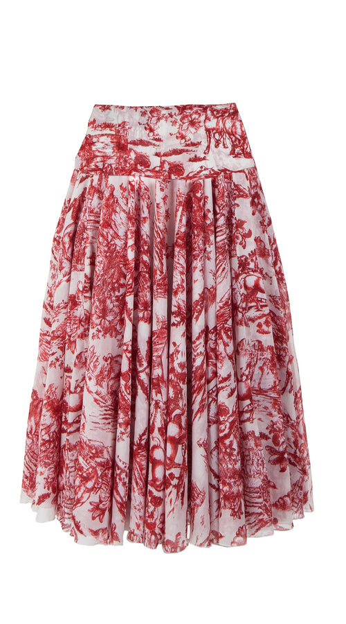 Aster Skirt with Yoke Midi Length Cotton Musola (Da Vinci Toile White)