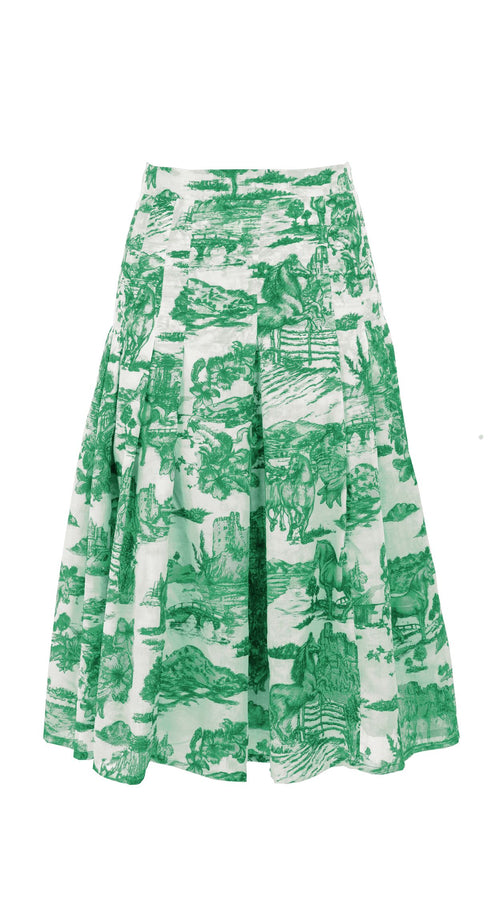 Zeller Skirt Long Length Cotton Musola (Da Vinci Toile White)
