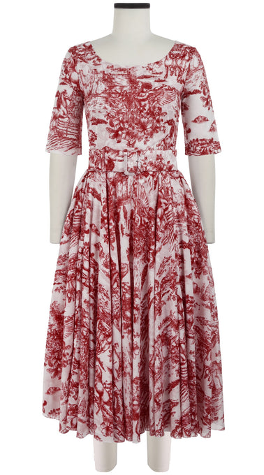 Aster Dress Boat Neck 1/2 Sleeve Midi Length Cotton Musola (Da Vinci Toile White)