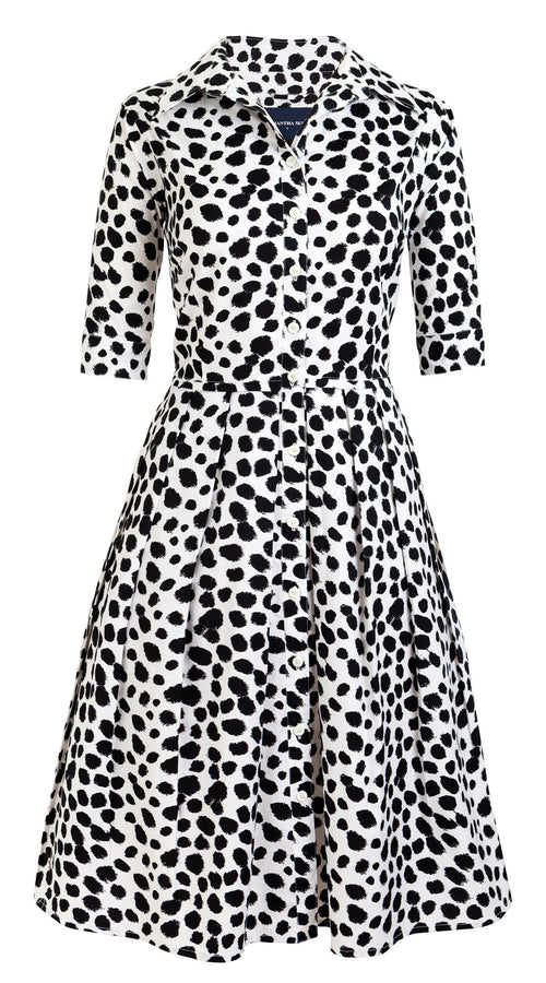 1/2 Sleeve | Dalmatian | White Black | Front | Shirt Dress By Samantha Sung
