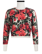 Colette Cardigan Crew Neck 3/4 Sleeve Cashmere (Damask Rose Bright)