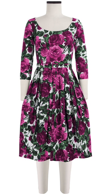 Rachel Dress Open U Neck 3/4 Sleeve Cotton Stretch (Damask Rose)