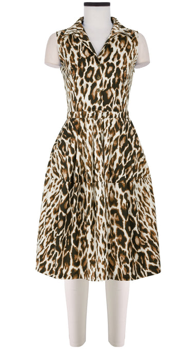 Claire Dress Shirt Collar Sleeveless Cotton Stretch (Dior Leopard)