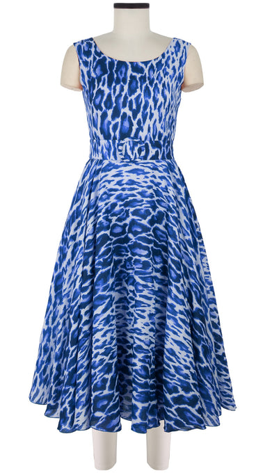 April Dress #1 Original Boat Neck Mini Cap Sleeve Midi Length Linen (Dior Leopard)
