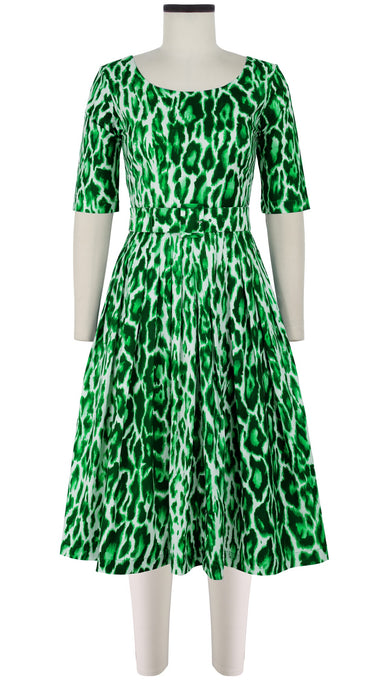 Florance Dress #2 Boat Neck 1/2 Sleeve Long Length Cotton Stretch (Dior Leopard)