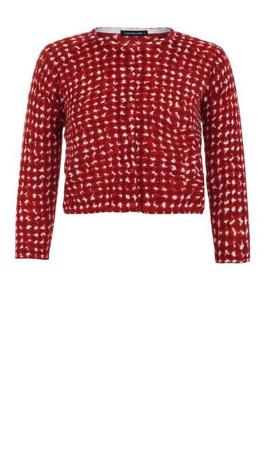 Lynette Cardigan Crew Neck 3/4 Sleeve_70% Silk 30% Cashmere_Dogstooth Bright_White Indian Red