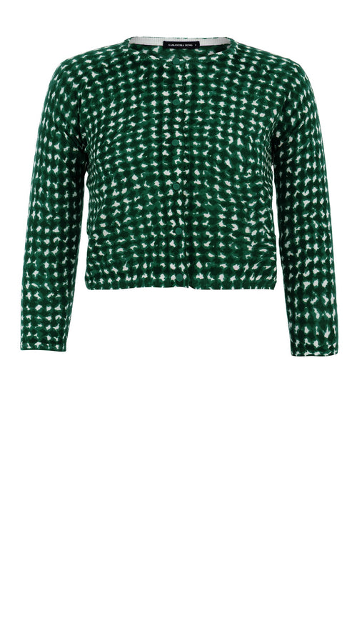 Lynette Cardigan Crew Neck 3/4 Sleeve_70% Silk 30% Cashmere_Dogstooth Bright_White Ivy Green