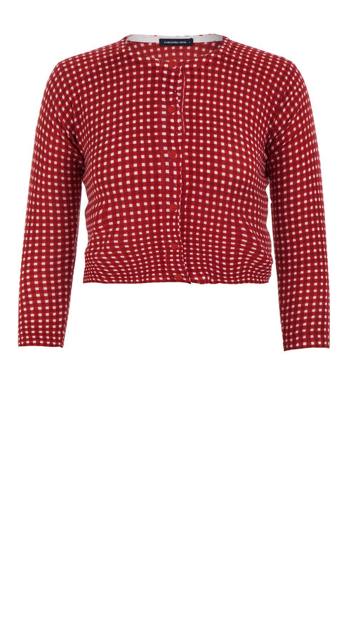 Lynette Cardigan Crew Neck 3/4 Sleeve_70% Silk 30% Cashmere_Dorothy Gingham Bright_Indian Red