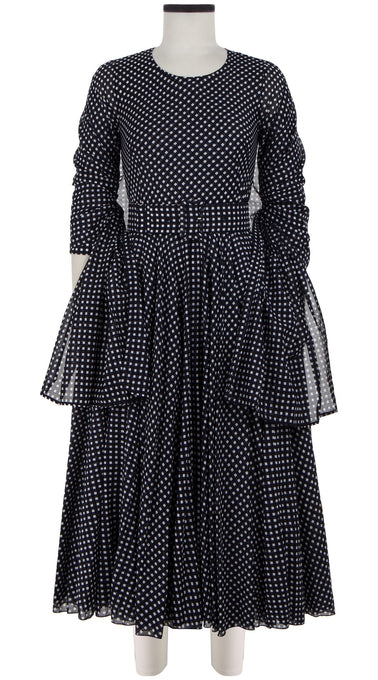 Aster Dress Crew Neck 3/4 Sleeve Midi Length Cotton Musola (Dorothy Gingham Bright)