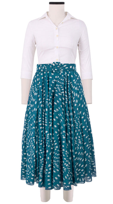 Aster Skirt #1 with Belt Midi Length Cotton Musola (Drapery Dots)
