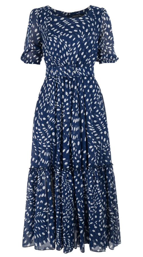 Anna Dress Boat Neck 1/2 Puff Sleeve Ankle Length Cotton Musola (Drapery Dots)