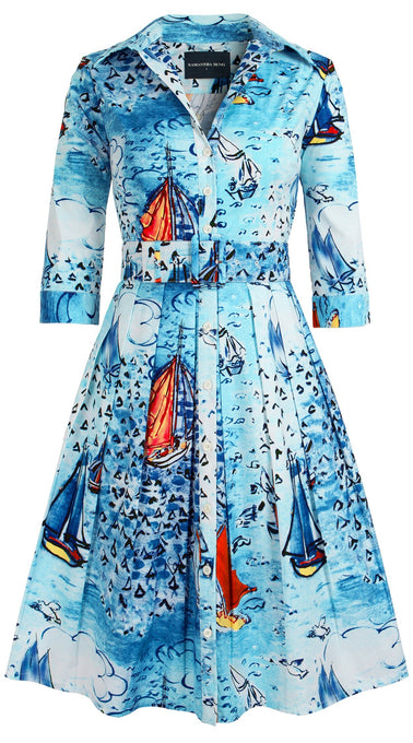Audrey Dress #1_Dufy Boats in Aqua_Cotton Stretch_Shirt Collar 3/4 Sleeve