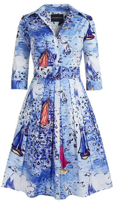 Audrey Dress #1_Dufy Boats in Cobalt Blue_Cotton Stretch_Shirt Collar 3/4 Sleeve