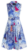 Audrey Dress #1_Dufy Boats in Cobalt Blue_Cotton Stretch_Shirt Collar Sleeveless