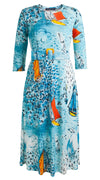 Bianca Dress #1 Crew Neck 3/4 Sleeve Silk Jersey (Dufy Boats)