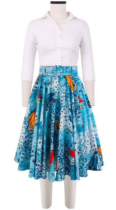 April Skirt Cotton Stretch (Dufy Boats)
