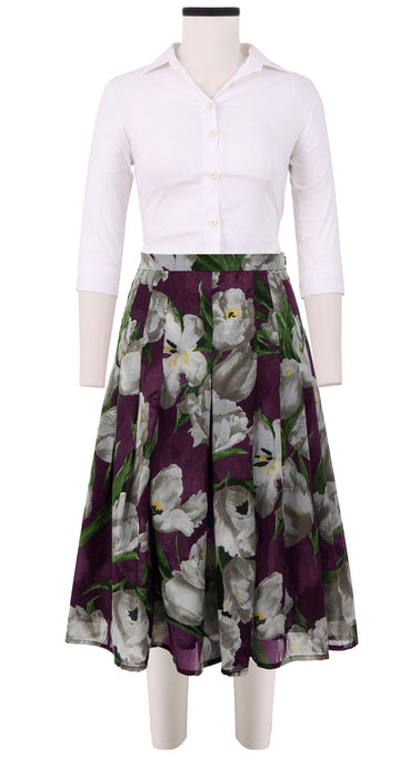 Zeller Skirt Long Length Cotton Musola (Dutch Tulip Ground)
