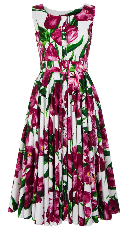 Gigi Dress Boat Neck Mini Sleeveless Midi Length Cotton Stretch (Dutch Tulip White)