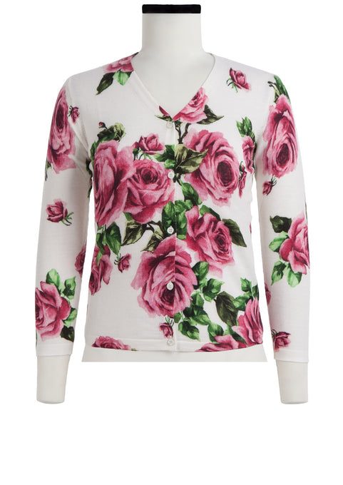 Charlotte Cardigan V Neck 3/4 Sleeve_70% Silk 30% Cashmere_Eden Rose White_Soft Rose