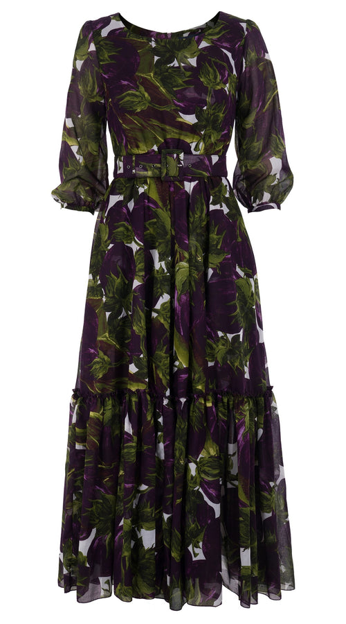 Anna Dress Boat Neck 3/4 Sleeve Ankle Length Cotton Musola (Eggplant)