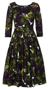 Florance Dress Boat Neck 3/4 Sleeve Long +3 Length Cotton Stretch (Eggplant)