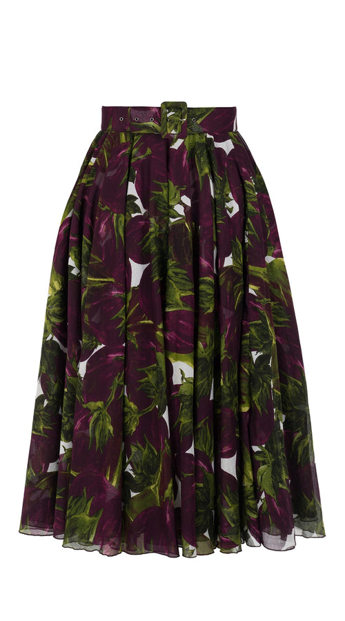 Aster Skirt #1 with Belt Midi Length Cotton Musola (Eggplant)
