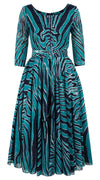 Aster Dress Boat Neck 3/4 Sleeve Midi Length Cotton Musola (Exotic Zebra)