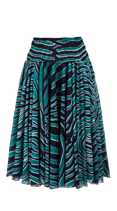 Aster Skirt with Yoke Midi Length Cotton Musola (Exotic Zebra)