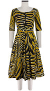 Florance Dress Boat Neck 1/2 Sleeve Long Length Cotton Stretch (Exotic Zebra)