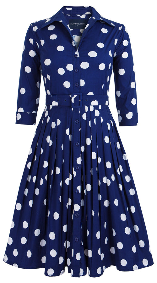 Audrey Dress #2 Shirt Collar 3/4 Sleeve Cotton Stretch (Fellini Dots)