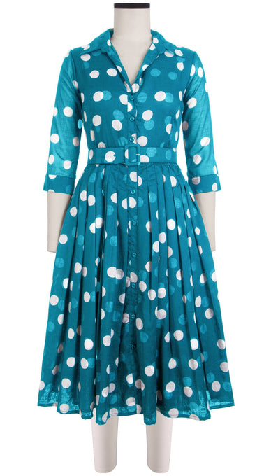Audrey Dress #2 Shirt Collar 3/4 Sleeve Cotton Musola (Fellini Dots)