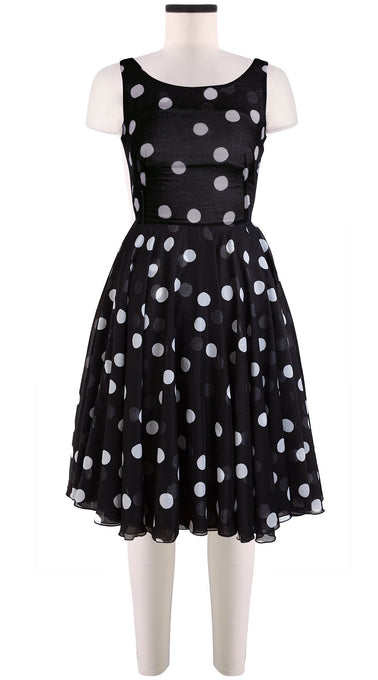 Sleeveless | Fellini Dots | Black | Front | Dress By Samantha Sung
