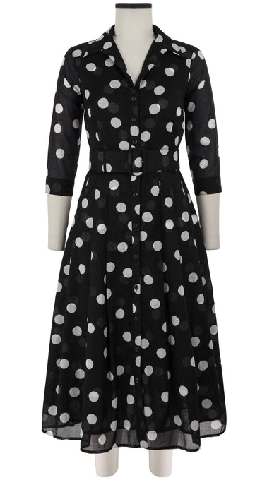 Audrey Dress #3 Shirt Collar 3/4 Sleeve Midi Length Cotton Musola (Fellini Dots)