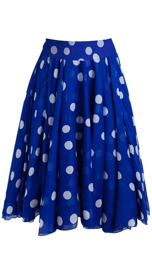 Aster Skirt with Yoke Midi Length Cotton Musola (Fellini Dots)