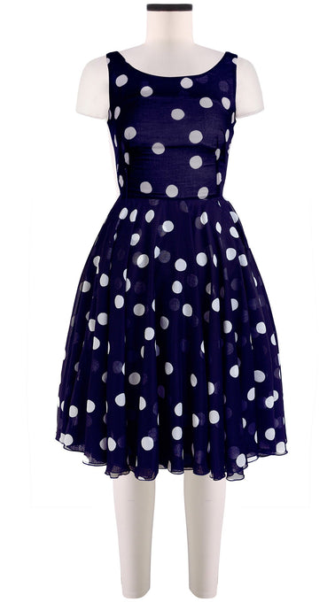 Sleeveless | Fellini Dots | Indigo | Front | Dress By Samantha Sung