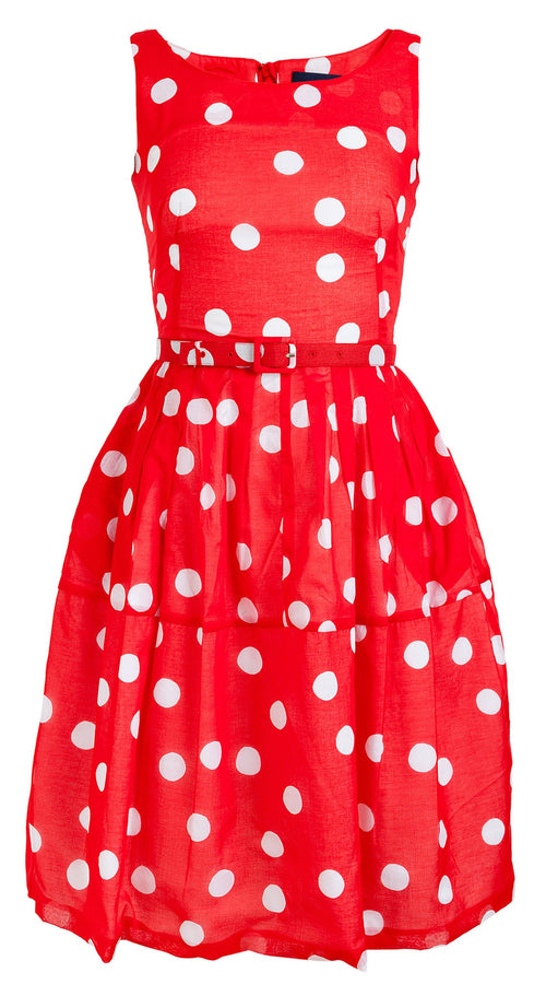 Rachel Dress Boat Neck Sleeveless Cotton Musola (Fellini Dots)