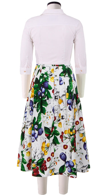 Zelda Skirt Long Length Cotton Stretch (Fig and Cherry)