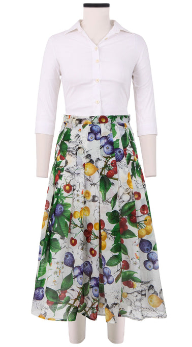 Zeller Skirt Midi Length Cotton Musola (Fig and Cherry)