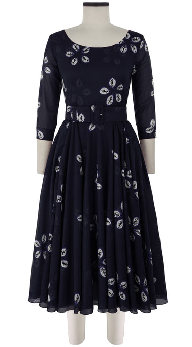 Aster Dress Boat Neck 3/4 Sleeve Midi Length Cotton Musola (Five Peddal Shibori Dark)