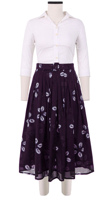Florance Skirt Midi Length Cotton Musola (Five Peddal Shibori Dark)
