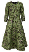 Deborah Dress Crew Neck 3/4 Sleeve Midi Length_Silk Poly Brocade_Flamingo Brocade_Apple Green
