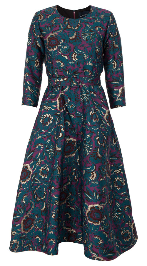 Deborah Dress Crew Neck 3/4 Sleeve Midi Length_Silk Poly Brocade_Flamingo Brocade_Jade